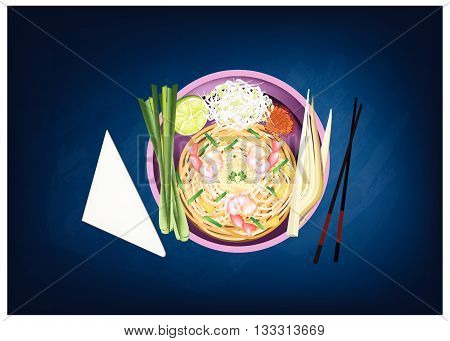 Thai Cuisine Pad Thai or Thai Stir Fried Noodles with Prawns on Chalkboard. One of The Most Popular Recipe in Thailand.
