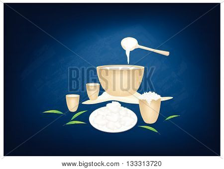 Arabian Cuisine Fermented Camel Milk on Chalkboard. One of The Most Favorite Arabic Beverage. poster
