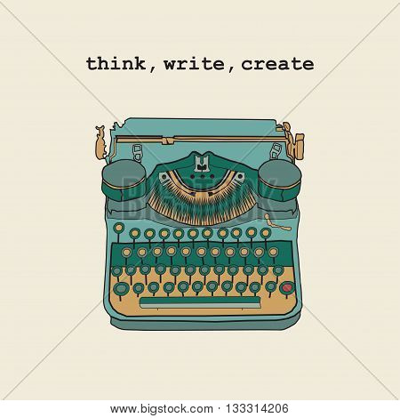 Vintage Vector Illustrations Of Retro Typewriter