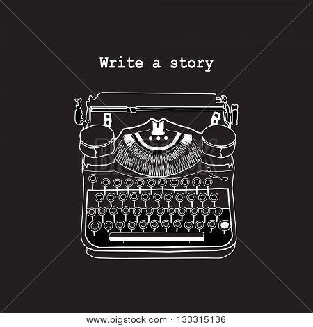Vintage Illustration Of Retro Typewriter