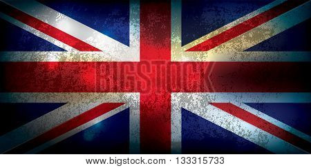 A grunge textured Union Jack flag illustration. Vector EPS 10.
