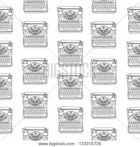 Seamless Pattern With Vintage Typewriters