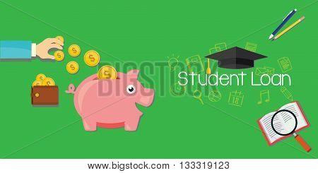 student loans debt for education vector illustration