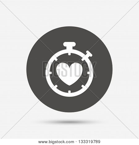 Heart Timer sign icon. Stopwatch symbol. Heartbeat palpitation. Gray circle button with icon. Vector