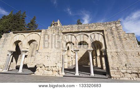 MEDINA AZAHARA, SPAIN - September  11, 2015: Facade of the Upper Basilica Hall at Medina Azahara medieval palace-city near Cordoba on September  11, 2015 in Medina Azahara, Spain