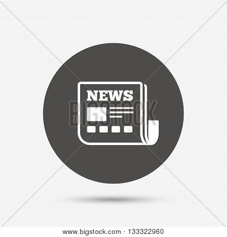 News icon. Newspaper sign. Mass media symbol. Gray circle button with icon. Vector