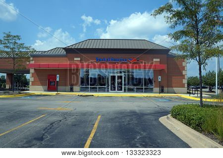 SHOREWOOD, ILLINOIS / UNITED STATES - AUGUST 16, 2015: The Bank of America offers banking services in Shorewood.
