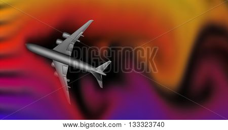 Airplane caught in strong wind turbulence field