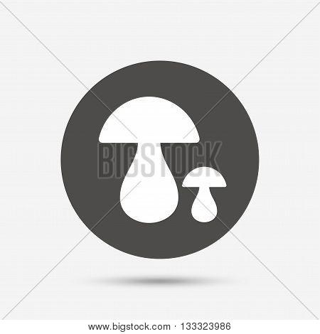 Mushroom sign icon. Boletus mushroom symbol. Gray circle button with icon. Vector