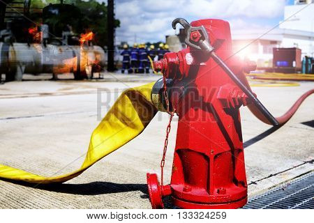fire hydrant , hose connection ,fire fighting equipment for fire fighter.