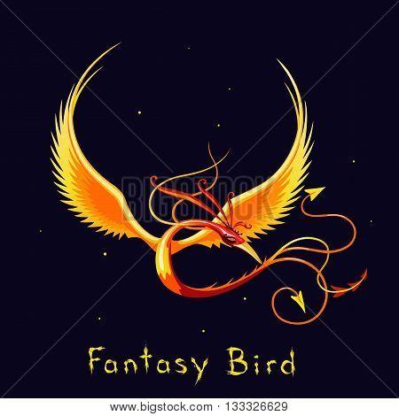 Legless bird of paradise. Fantasy vector illustration. Colored cartoon bird. Phoenix.