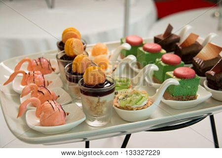 Dessert on Tray assorted with miniture goodies