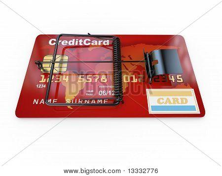 Credit card as mousetrap. Conceptual image. 3d poster