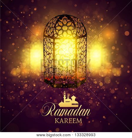 Ramadan Kareem islamic background. Eid mubarak. Islam holly month. Vector illustration of lighting lantern. Ramadan greeting template. Arabic design. Intricate Arabic lamp celebration Muslim festival.
