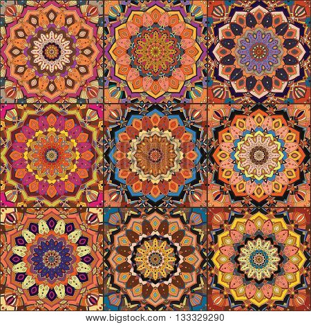 Orange Square Tile Boho Pattern. Elaborate patchwork from mandala ornament