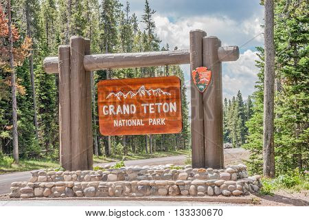 Entrance sign to Grand Teton National Park in Wyoming
