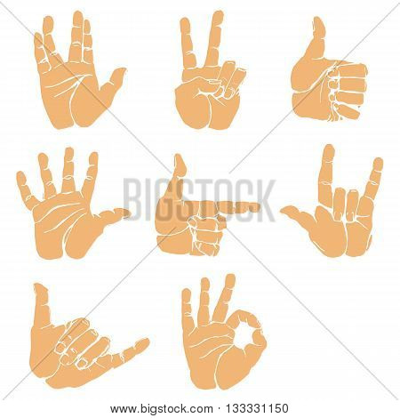 Hand gestures and sign language icon set. Isolated colorful illustration of vector human hands. Colorful hands vector collection-accuracy sketching of hand gestures - contour version at my gallery