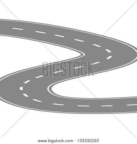 Curving winding road or highway with center cartoon illustration isolated on white.