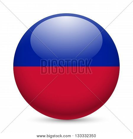 Flag of Haiti as round glossy icon. Button with Haitian flag