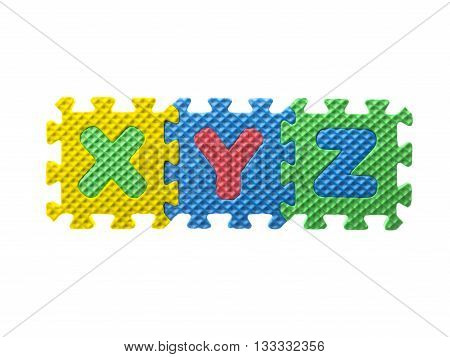 Rubber Puzzle With Alphabets Xy And Z