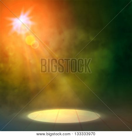 Green Orange Great Premiere Show Background. Smoky vector stage shining with spotlights Rays.