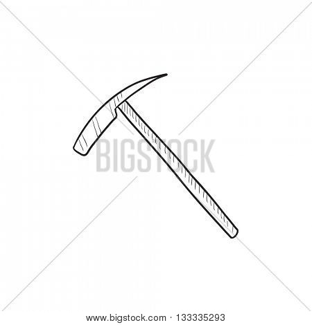 Ice pickaxe vector sketch icon isolated on background. Hand drawn Ice pickaxe icon. Ice pickaxe sketch icon for infographic, website or app.