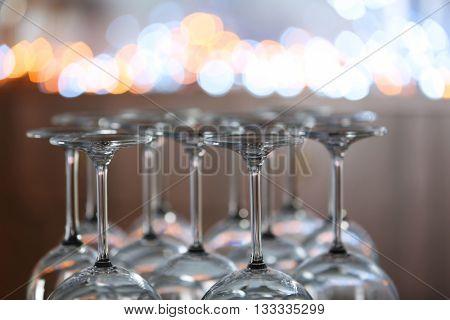 Upturned wine glasses on the table