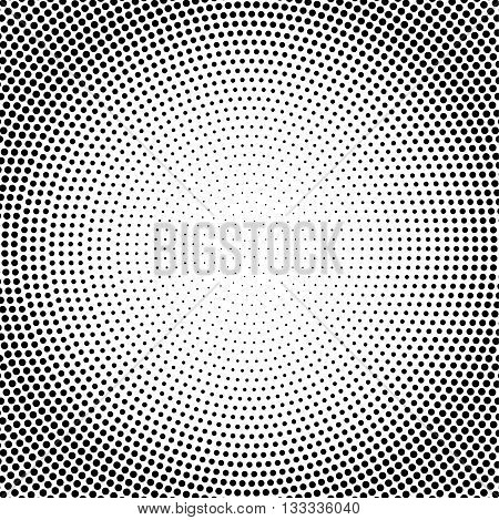 Abstract vector black and white dotted halftone background.