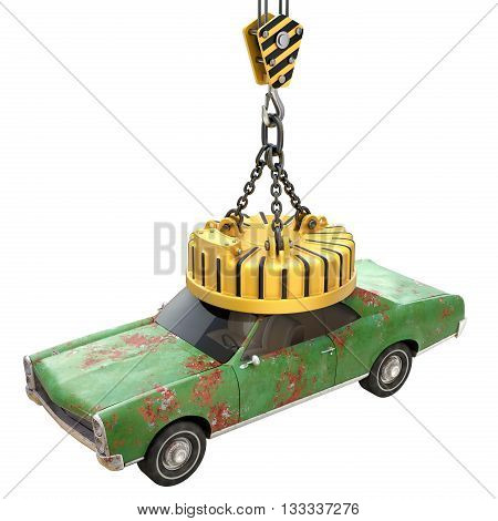 Lifting electro magnet with old car isolated on white background - 3D illustration