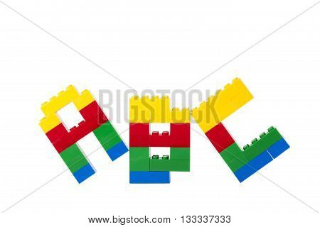 lego alphabetlego alphabet isolated on a white background poster