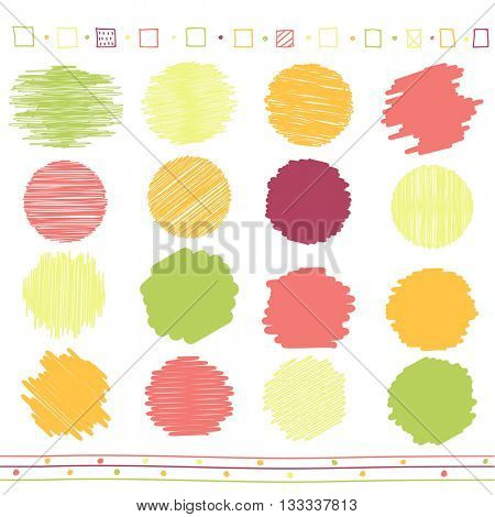 Vector collection of retro scribbled circular lines with hand drawn style of green, orange, pink and red color