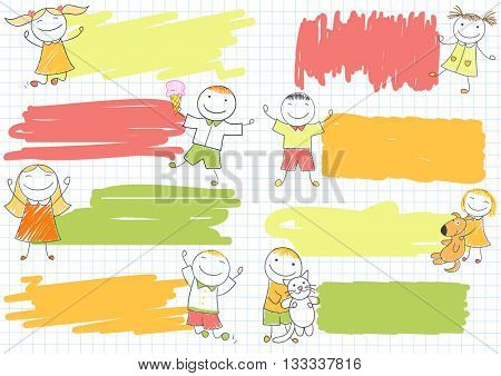 Collection of scribble banners with happy boys and girls. Sketch on notebook page in doodle style. Can be used for baby and scrapbooking design