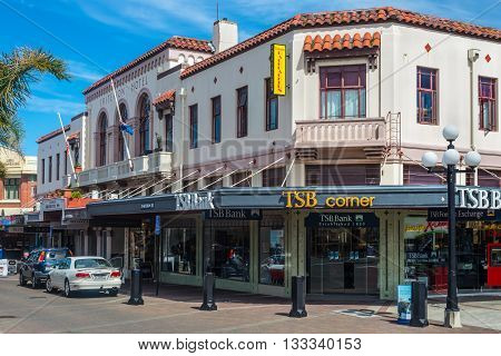 Napier New Zealand - November 19 2014: Spanish Mission Style Buildings in Napier Hawkes Bay New Zealand.