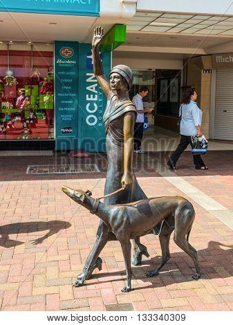 Napier New Zealand - November 19 2014: Art deco sculpture at the shoppingcenter in Napier North Island New Zealand.