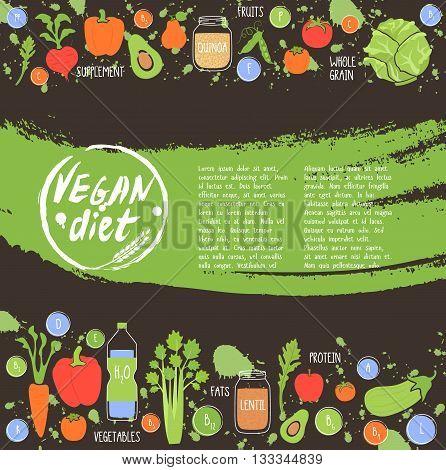 Vegan diet. Healthy food background fresh vegetable and fruit vector illustration. Vegetarian menu elements. Natural food concept.