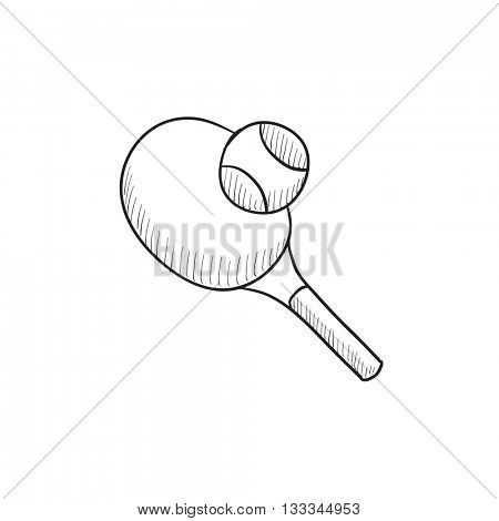 Tennis racket and ball vector sketch icon isolated on background. Hand drawn Tennis racket and ball icon. Tennis racket and ball sketch icon for infographic, website or app.