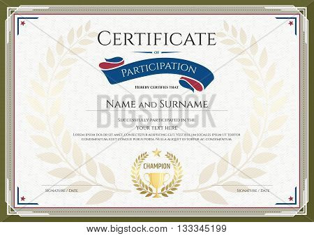 Certificate of participation template with green broder gold trophy champion wreath