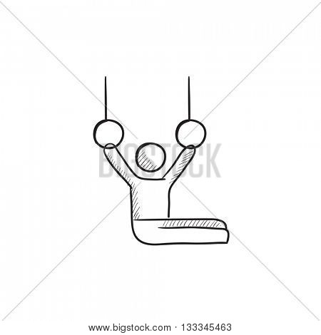 Gymnast performing on stationary rings vector sketch icon isolated on background. Hand drawn Gymnast on stationary rings icon. Gymnast on stationary rings sketch icon for infographic, website or app.