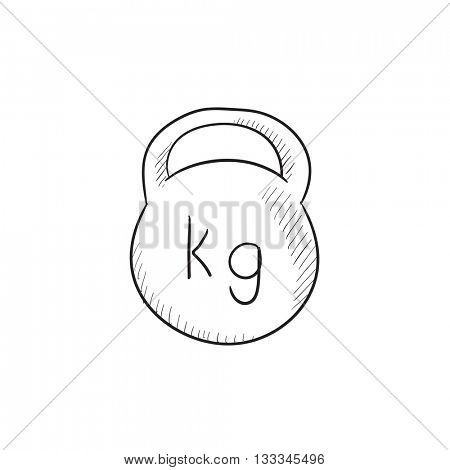 Kettlebell vector sketch icon isolated on background. Hand drawn Kettlebell icon. Kettlebell sketch icon for infographic, website or app.