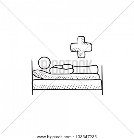Patient lying on bed vector sketch icon isolated on background. Hand drawn Patient lying on bed icon. Patient lying on bed sketch icon for infographic, website or app.