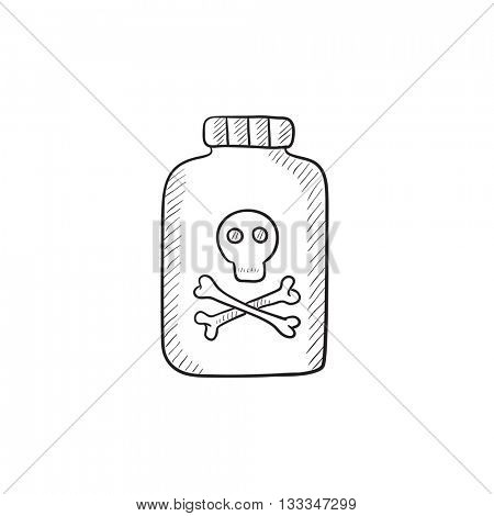 Bottle of poison vector sketch icon isolated on background. Hand drawn Bottle of poison icon. Bottle of poison sketch icon for infographic, website or app.