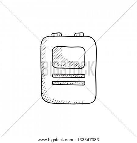 Heart defibrillator vector sketch icon isolated on background. Hand drawn Heart defibrillator icon. Heart defibrillator sketch icon for infographic, website or app.