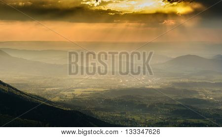 Beautiful and dramatic sunset from czech mountains Beskydy