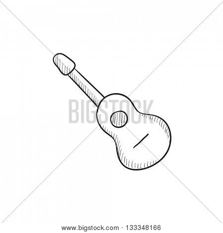 Acoustic guitar vector sketch icon isolated on background. Hand drawn Acoustic guitar icon. Acoustic guitar sketch icon for infographic, website or app.