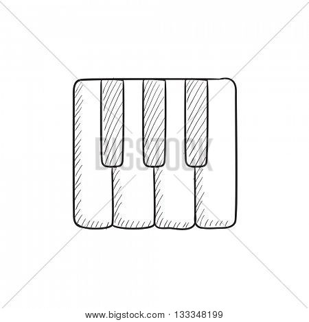 Piano keys vector sketch icon isolated on background. Hand drawn Piano keys icon. Piano keys sketch icon for infographic, website or app.
