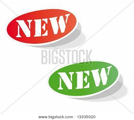 Oval colorful labels with the words NEW