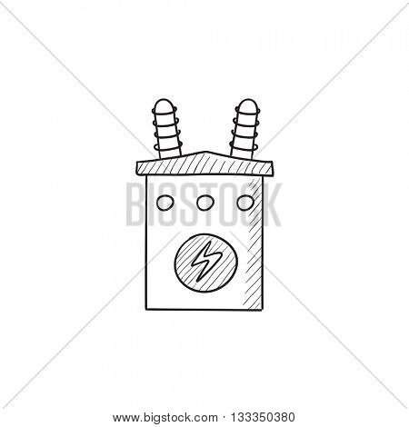 High voltage transformer vector sketch icon isolated on background. Hand drawn High voltage transformer icon. High voltage transformer sketch icon for infographic, website or app. poster