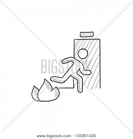 Emergency fire exit door vector sketch icon isolated on background. Hand drawn Emergency fire exit door icon. Emergency fire exit door sketch icon for infographic, website or app. poster