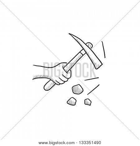 Hand using pickax vector sketch icon isolated on background. Hand drawn Hand using pickax icon. Hand using pickax sketch icon for infographic, website or app.