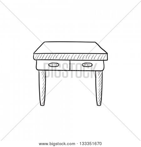 Table with drawers vector sketch icon isolated on background. Hand drawn Table with drawers icon. Table with drawers sketch icon for infographic, website or app.